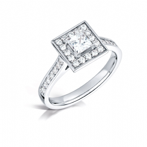 GIA Certified G VS Diamond cluster ring, Platinum. Princess cut centre stone - 0.75ct